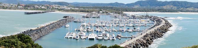 """Coffs Harbour Marina Panorama"" by Binarysequence - Own work. Licensed under CC BY-SA 4.0 via Commons - https://commons.wikimedia.org/wiki/File:Coffs_Harbour_Marina_Panorama.JPG#/media/File:Coffs_Harbour_Marina_Panorama.JPG"